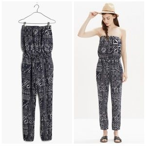 MADEWELL KINGSTON AZTEC NAVY STRAPLESS JUMPSUIT